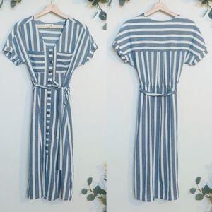 Monteau Striped Button Front Faux Wrap Midi Dress
